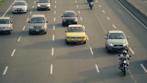 NYC Yellow taxi cab driving in traffic Stock Video Footage