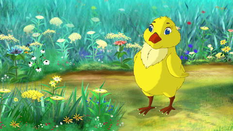 Yellow Chicken Standing and Looking Around Animation