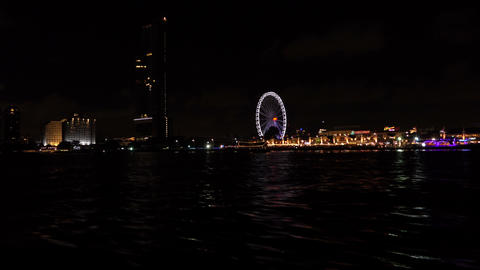 On the boat in river city night view Live Action
