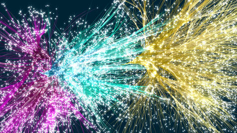 Colorful rising and spreading abstract hairy particles with glow effect Animation