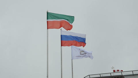 Wind Waves State Flags and Oil Production Company Image