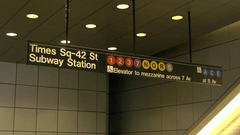 A close up of the Times Square subway station sign Footage