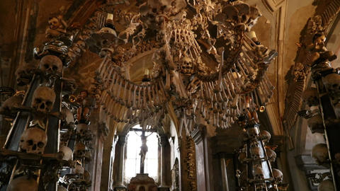 The Sedlec Ossuary Kostnice in Czech Republic GIF