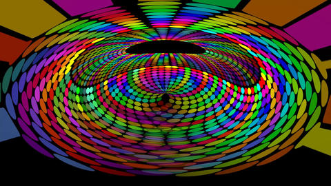 Psychedelic rainbow dotted tunnel, abstract multicolored background in vivid Animation