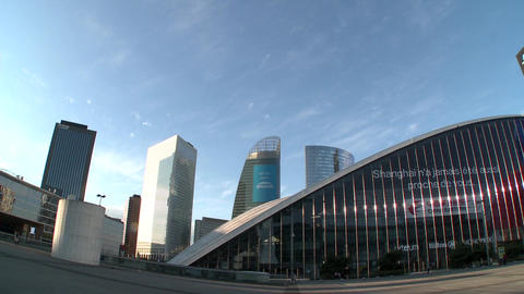 Pan to La Grande Arche de la Defense, located in La Defense business district of Live Action