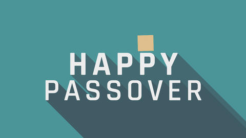 Passover holiday greeting animation with matzah icon and english text Animation