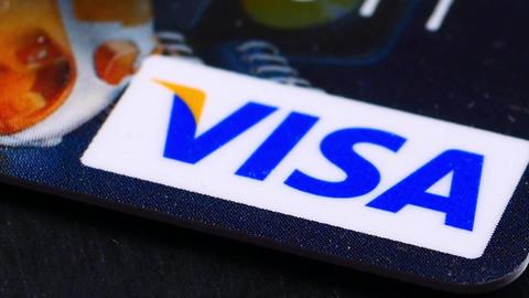 Ternopil, Ukraine - February 19, 2018: VISA Credit Card closeup Footage