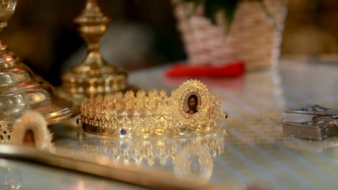 Wedding crowns and church attributes for marriage. Close-up Footage