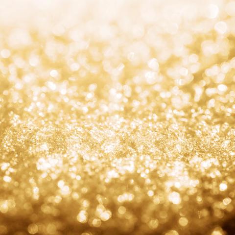 Gold shine lights frozen snow bokeh Photo