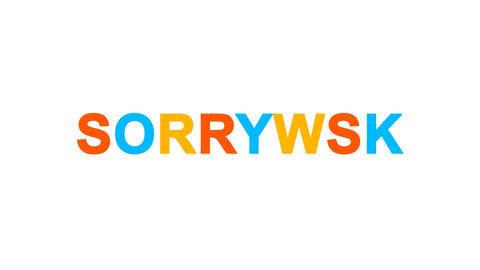 common expression SORRY! from letters of different colors appears behind small Animation