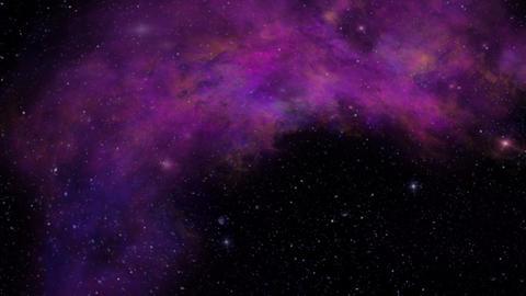 Universe, Purple Nebula, Twinkling Stars and Space Dust Animation