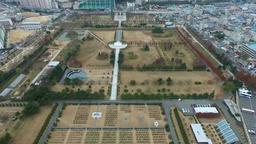 Aerial view of UN memorial cemetery in Busan, South Korea , Asia Footage