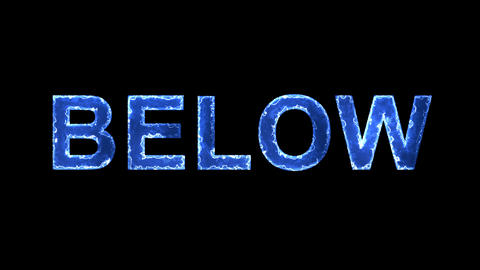Blue lights form luminous text BELOW. Appear, then disappear. Electric style Animation