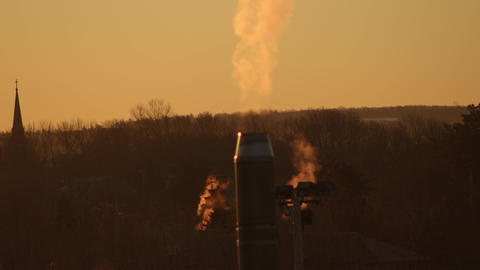 Chimneys-Smokestacks Billowing Smoke on a Cold Morning 영상물