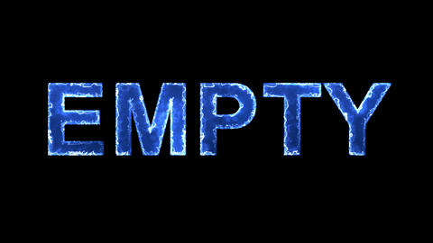 Blue lights form luminous text EMPTY. Appear, then disappear. Electric style Animation