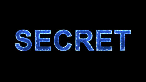 Blue lights form luminous text SECRET. Appear, then disappear. Electric style Animation