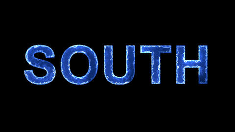 Blue lights form luminous text SOUTH. Appear, then disappear. Electric style Animation