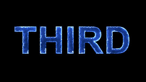 Blue lights form luminous text THIRD. Appear, then disappear. Electric style Animation