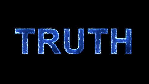 Blue lights form luminous text TRUTH. Appear, then disappear. Electric style Animation