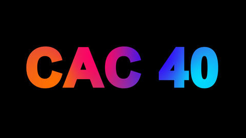 World stock index CAC 40 multi-colored appear then disappear under the lightning Animation