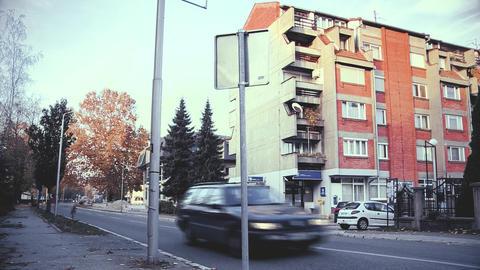 Street and building in Belgrade HD video ビデオ