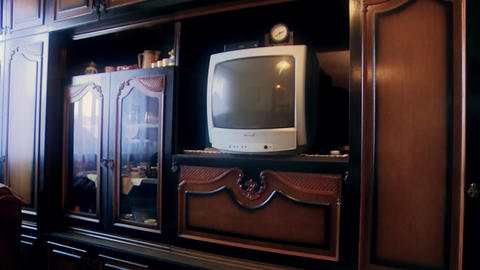 Old Tv in Closet Room Footage