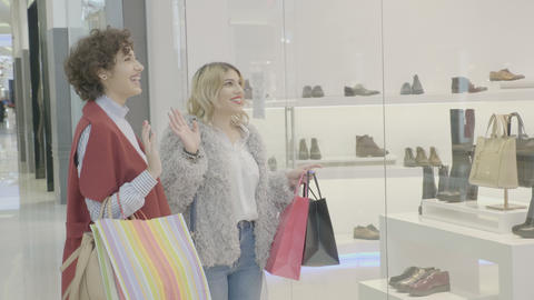 Rich sisters out for shopping at the mall get excited when they see the perfect Footage