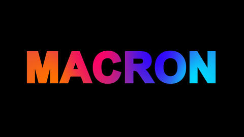 Person of the World Politics MACRON multi-colored appear then disappear under Animation