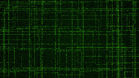 Grid of green glowing particles CG動画