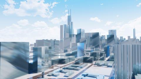 Downtown Chicago skyscrapers abstract 3D city Animation