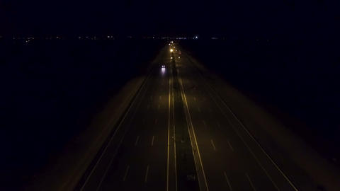 Aerial View Highway road traffic at night 영상물