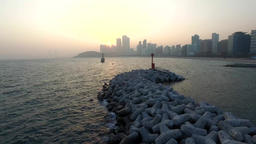 99 Early Spring of Haeundae, Busan, South Korea, Asia 09 Footage