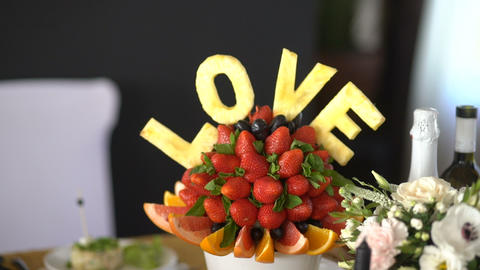 Beautifully decorated and sliced fruit Image