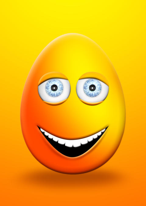 Easter Egg With Eyes and Mouth Feeling Happy and Cheerful 3D Illustration Fotografía