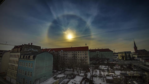 Spectacular Sun Halo Weather Timelapse Over A City 4K Footage
