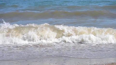 sea waves muddy water Footage