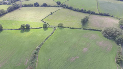 Aerial Descending View of Welsh Farm Land in Hawarden North Wales Footage