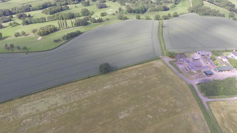 Aerial View Over Fields Flying Toward Hawarden Golf Club in Flintshire Live Action