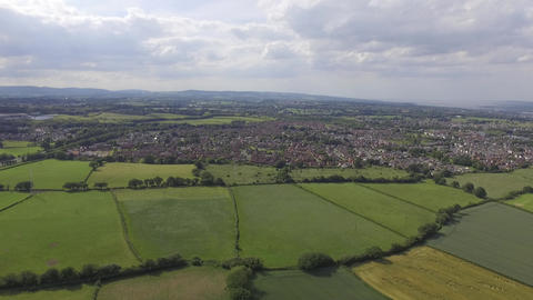 Aerial View Overlooking Welsh Fields and Houses Near Hawarden Live Action