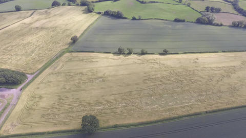 Aerial View Over Welsh Farm Land in Hawarden North Wales Footage