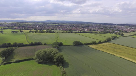 Slow Steady View Over Welsh Fields Close to Hawarden in North Wales Footage