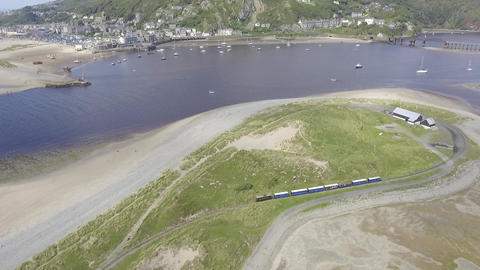 Steady Aerial Shot of the Fairbourne Narrow Gauge Railway Footage