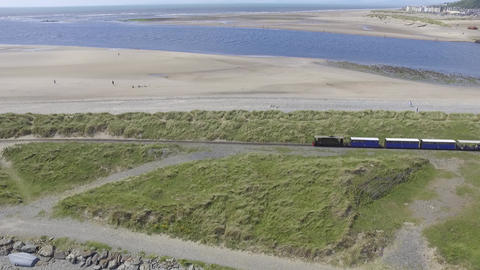Aerial Fly Over Shot of the Fairbourne Narrow Gauge Railway Footage