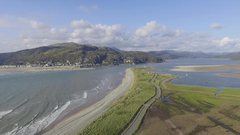 A High and Wide Aerial Shot of Fairbourne Beach Footage