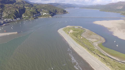 A High Aerial Shot Looking Down Over Fairbourne Footage