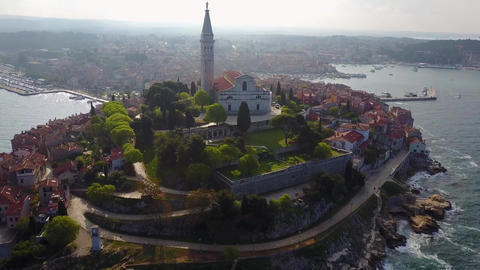 Aerial shoot of Old town Rovinj at sunset, Istra region, Croatia Footage