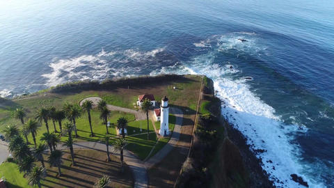 new Point Loma lighthouse at sunset in San Diego, California. (aerial view) Footage