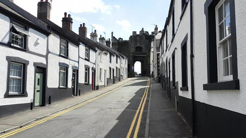 Conwy Town Row of Cottages and Town Castle Walls 3 Live Action