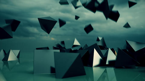 Abstract pyramids falling from sky Footage