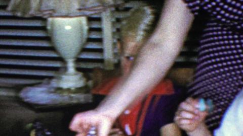 1964: Happy birthday David birthday cake candles kids party Footage